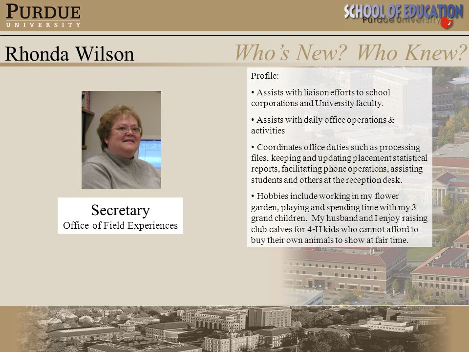 Rhonda Wilson Who's New.Who Knew.