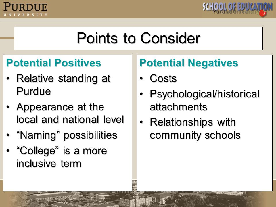 Points to Consider Potential Positives Relative standing at PurdueRelative standing at Purdue Appearance at the local and national levelAppearance at the local and national level Naming possibilities Naming possibilities College is a more inclusive term College is a more inclusive term Potential Negatives CostsCosts Psychological/historical attachmentsPsychological/historical attachments Relationships with community schoolsRelationships with community schools