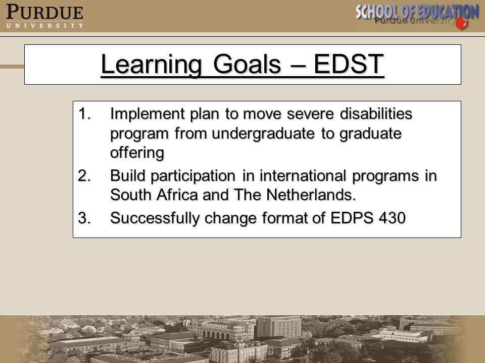 Learning Goals – EDST 1.Implement plan to move severe disabilities program from undergraduate to graduate offering 2.Build participation in international programs in South Africa and The Netherlands.