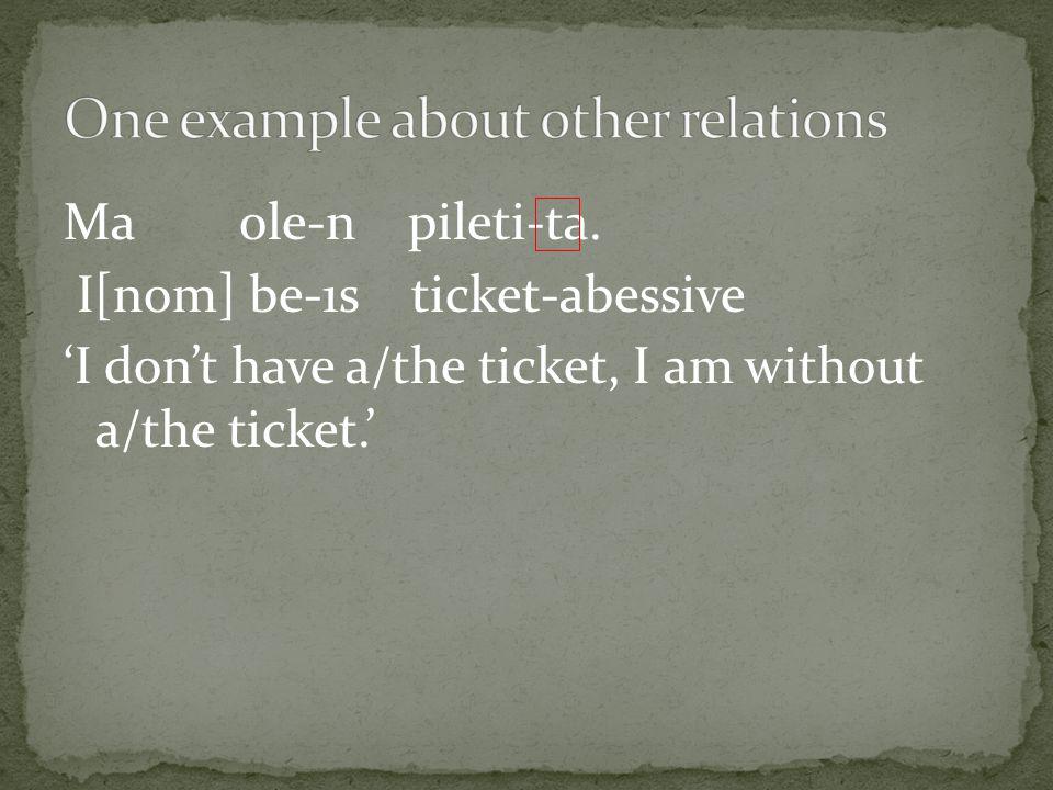 Ma ole-n pileti-ta.