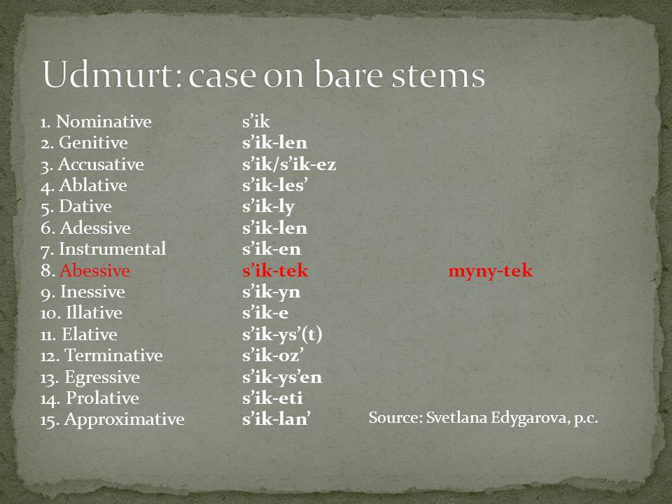 1. Nominatives'ik 2. Genitives'ik-len 3. Accusatives'ik/s'ik-ez 4.