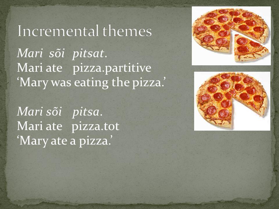 Mari sõi pitsat. Mari ate pizza.partitive 'Mary was eating the pizza.' Mari sõi pitsa.