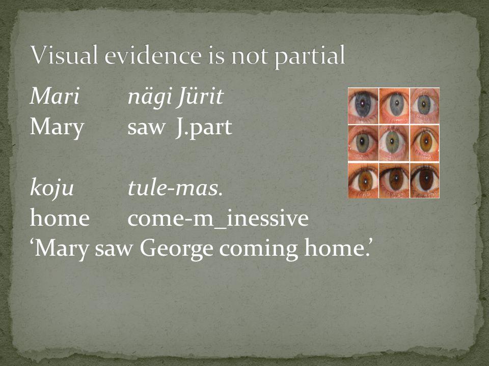 Mari nägi Jürit MarysawJ.part kojutule-mas. homecome-m_inessive 'Mary saw George coming home.'
