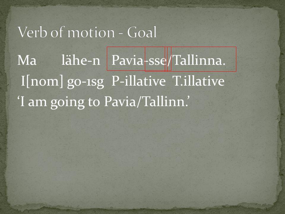 Ma lähe-n Pavia-sse/Tallinna. I[nom] go-1sg P-illative T.illative 'I am going to Pavia/Tallinn.'