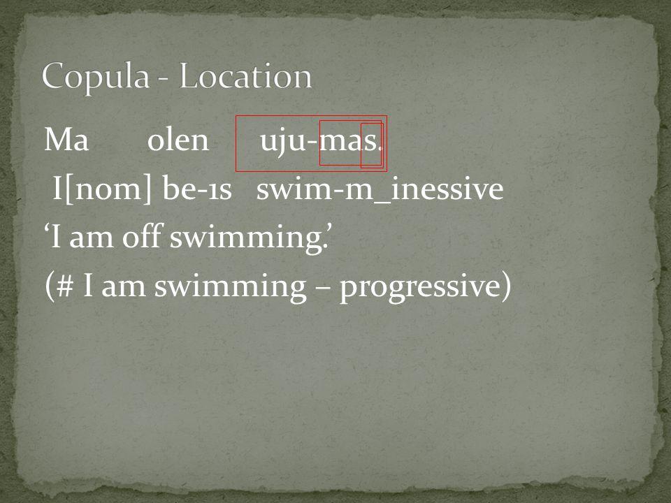 Ma olen uju-mas. I[nom] be-1s swim-m_inessive 'I am off swimming.' (# I am swimming – progressive)