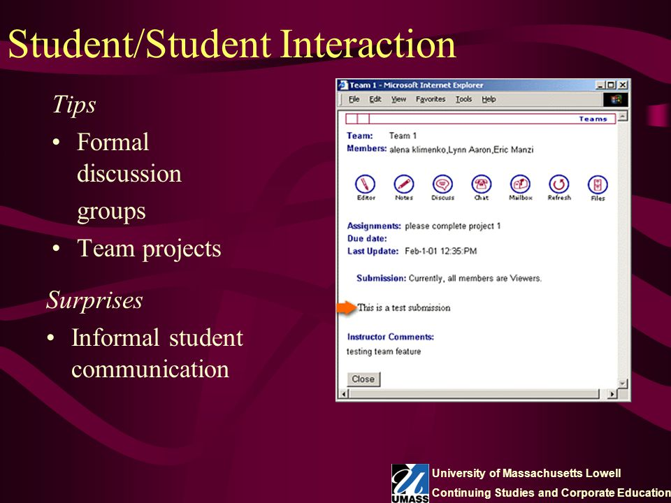 Student/Student Interaction Tips Formal discussion groups Team projects Surprises Informal student communication University of Massachusetts Lowell Co