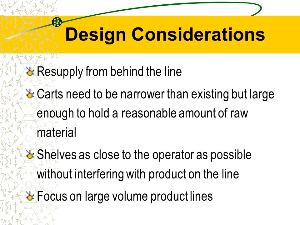 Design Considerations Resupply from behind the line Carts need to be narrower than existing but large enough to hold a reasonable amount of raw material Shelves as close to the operator as possible without interfering with product on the line Focus on large volume product lines