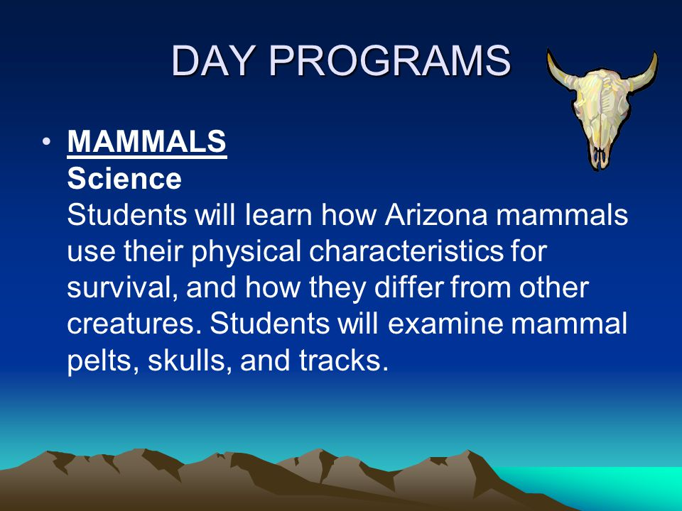 DAY PROGRAMS MAMMALS Science Students will learn how Arizona mammals use their physical characteristics for survival, and how they differ from other creatures.