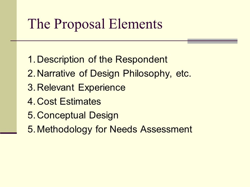 The Proposal Elements 1.Description of the Respondent 2.Narrative of Design Philosophy, etc.