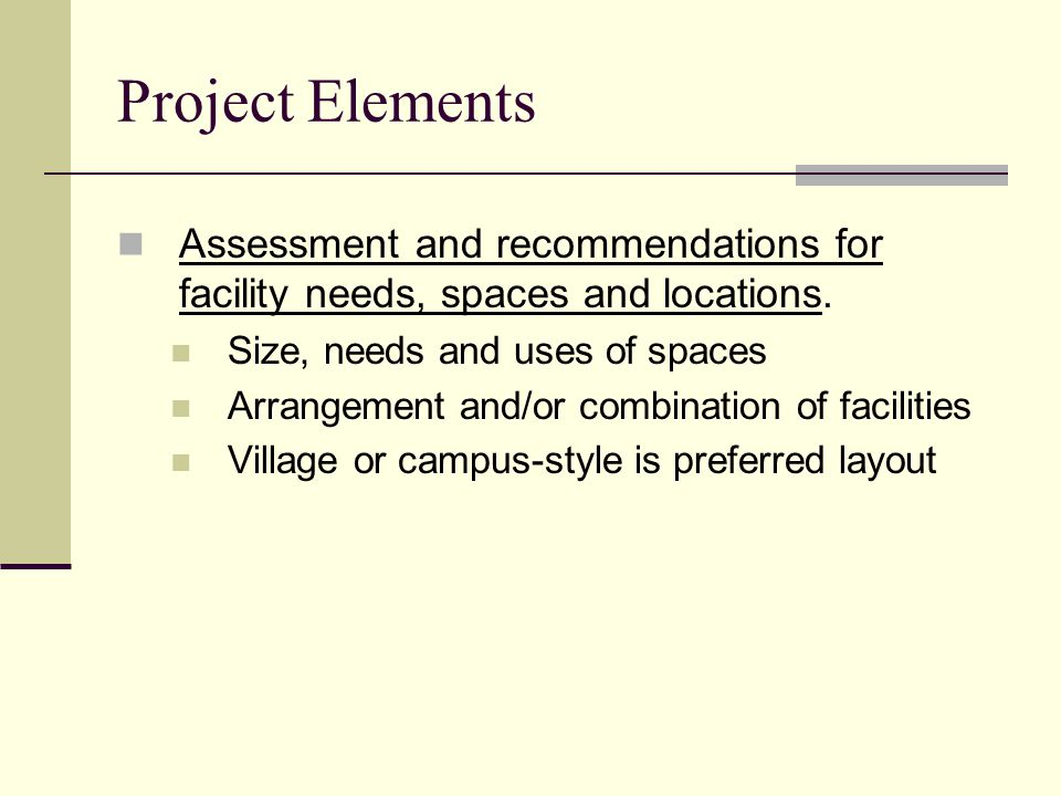 Project Elements Assessment and recommendations for facility needs, spaces and locations.