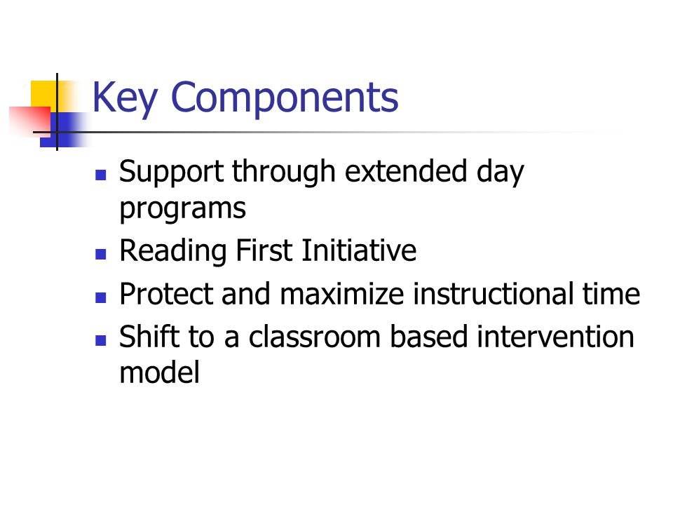 Key Components of SI Plan Needs Assessment Implementation of SBRR Reading Program Comprehensive Assessment Plan designed to inform instruction Professional Development initially focused on improving services for special education Enhanced teacher collaboration