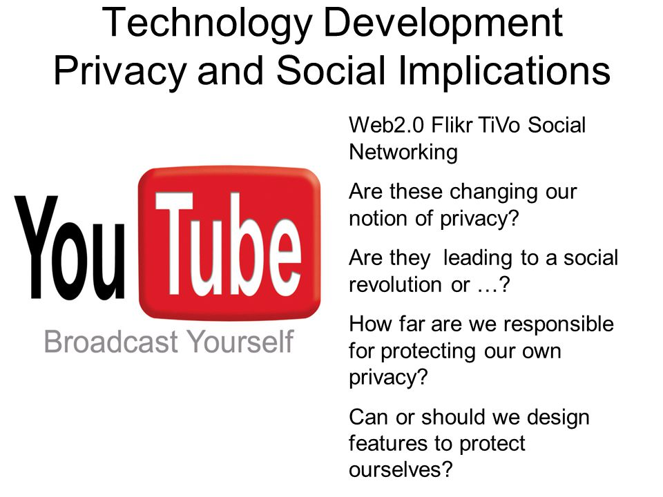 Technology Development Privacy and Social Implications Web2.0 Flikr TiVo Social Networking Are these changing our notion of privacy? Are they leading