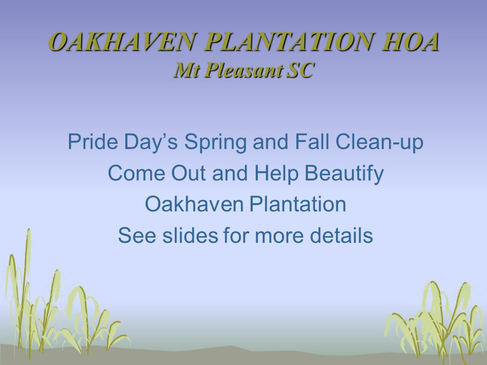 OAKHAVEN PLANTATION HOA Mt Pleasant SC Pride Day's Spring and Fall Clean-up Come Out and Help Beautify Oakhaven Plantation See slides for more details