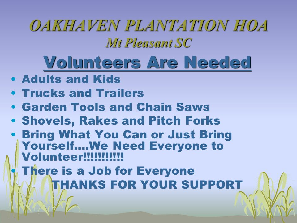 OAKHAVEN PLANTATION HOA Mt Pleasant SC Volunteers Are Needed Adults and Kids Trucks and Trailers Garden Tools and Chain Saws Shovels, Rakes and Pitch Forks Bring What You Can or Just Bring Yourself….We Need Everyone to Volunteer!!!!!!!!!!.