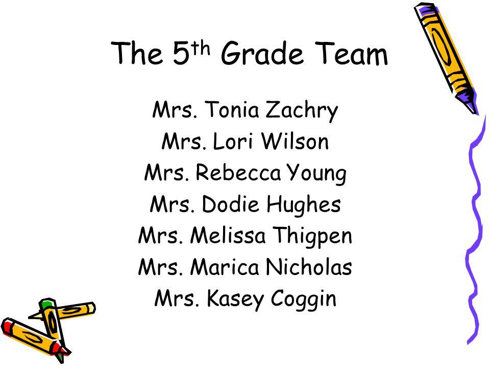 The 5 th Grade Team Mrs. Tonia Zachry Mrs. Lori Wilson Mrs.