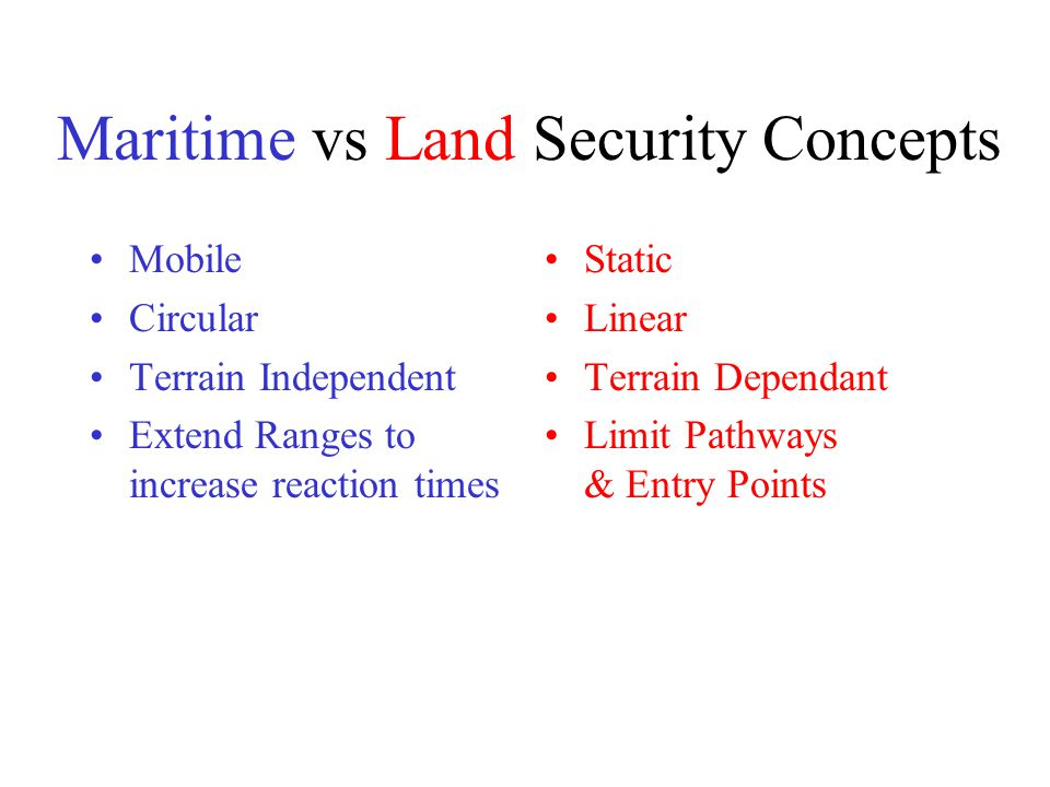 Maritime vs Land Security Concepts Mobile Circular Terrain Independent Extend Ranges to increase reaction times Static Linear Terrain Dependant Limit Pathways & Entry Points