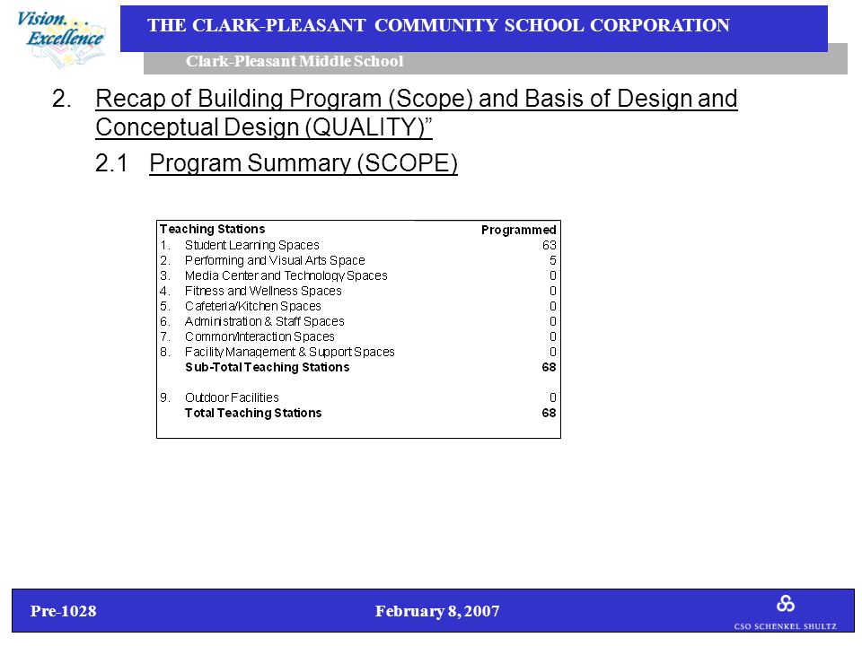 Pre-1028 February 8, 2007 Clark-Pleasant Middle School THE CLARK-PLEASANT COMMUNITY SCHOOL CORPORATION 2.Recap of Building Program (Scope) and Basis of Design and Conceptual Design (QUALITY) 2.1 Program Summary (SCOPE)