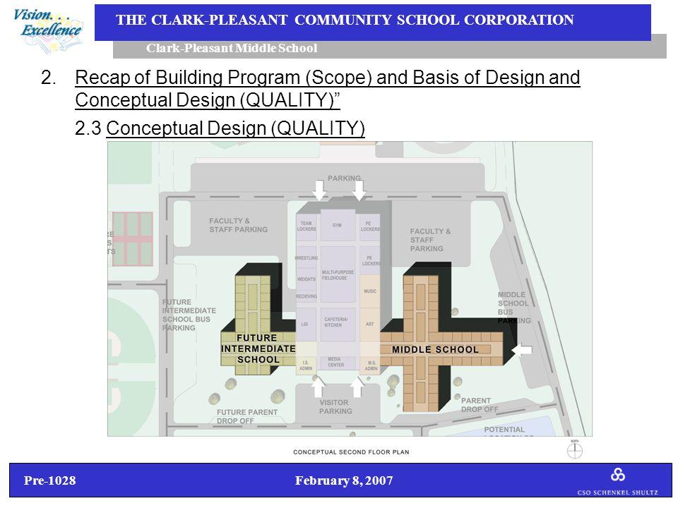 Pre-1028 February 8, 2007 Clark-Pleasant Middle School THE CLARK-PLEASANT COMMUNITY SCHOOL CORPORATION 2.Recap of Building Program (Scope) and Basis of Design and Conceptual Design (QUALITY) 2.3 Conceptual Design (QUALITY)