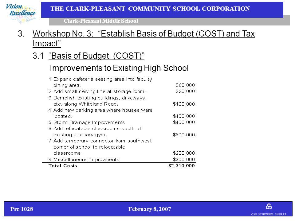 Pre-1028 February 8, 2007 Clark-Pleasant Middle School THE CLARK-PLEASANT COMMUNITY SCHOOL CORPORATION Improvements to Existing High School 3.Workshop No.