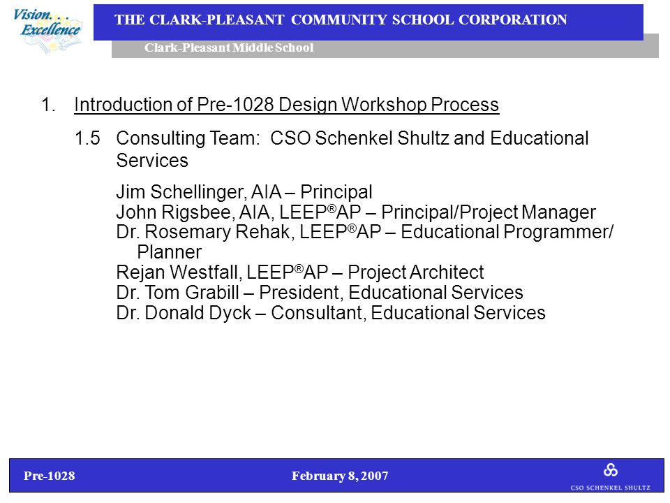 Pre-1028 February 8, 2007 Clark-Pleasant Middle School THE CLARK-PLEASANT COMMUNITY SCHOOL CORPORATION 1.Introduction of Pre-1028 Design Workshop Process (Continued) 1.6Project Balance…………………For The Middle School Project SCOPE (Program Requirements) QUALITY (Conceptual/ Basis of Design) COST (Basis of Budget) Project Schedule