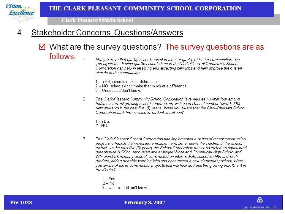 Pre-1028 February 8, 2007 Clark-Pleasant Middle School THE CLARK-PLEASANT COMMUNITY SCHOOL CORPORATION 4.Stakeholder Concerns, Questions/Answers  What are the survey questions.