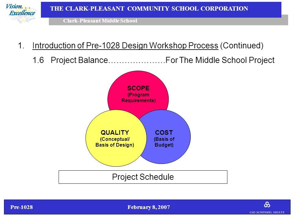 Pre-1028 February 8, 2007 Clark-Pleasant Middle School THE CLARK-PLEASANT COMMUNITY SCHOOL CORPORATION 1.Introduction of Pre-1028 Design Workshop Process (Continued) 1.7Pre-1028 Design Workshop Schedule Workshop No.