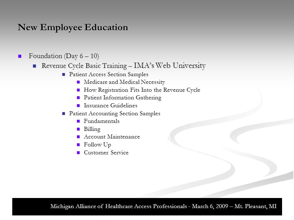 New Employee Education Initiation 101 – Departments, Functions, and Processes (Day 11 – 14) Initiation 101 – Departments, Functions, and Processes (Day 11 – 14) Introduction to Department Key Functions Introduction to Department Key Functions Patient Services Patient Services PreArrival, ED, Admitting...