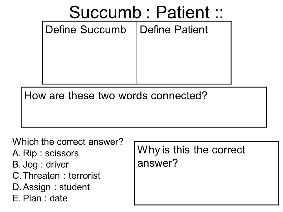 Succumb : Patient :: Define SuccumbDefine Patient How are these two words connected.