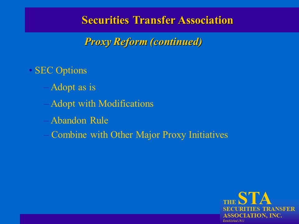 THE STA SECURITIES TRANSFER ASSOCIATION, INC.