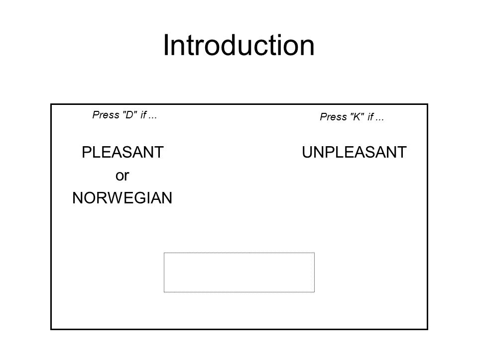 Introduction PLEASANT or NORWEGIAN UNPLEASANT Press D if... Press K if...