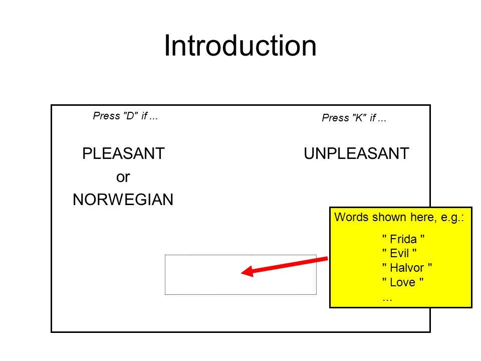 Introduction PLEASANTUNPLEASANT or NORWEGIAN Press D if... Press K if... New instructions