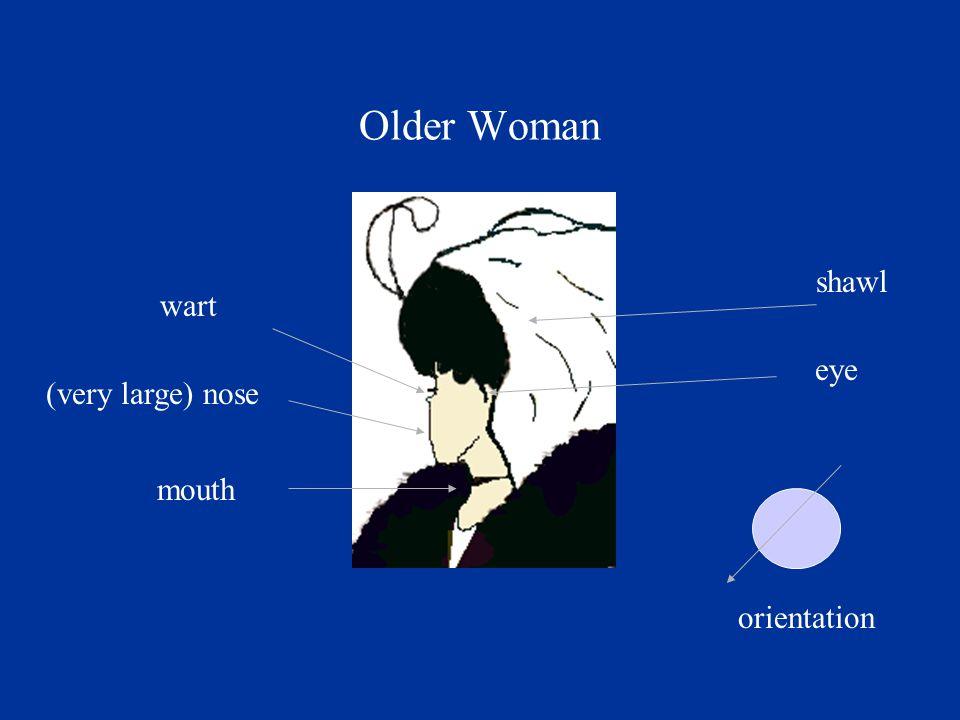 wart (very large) nose mouth eye orientation shawl Older Woman