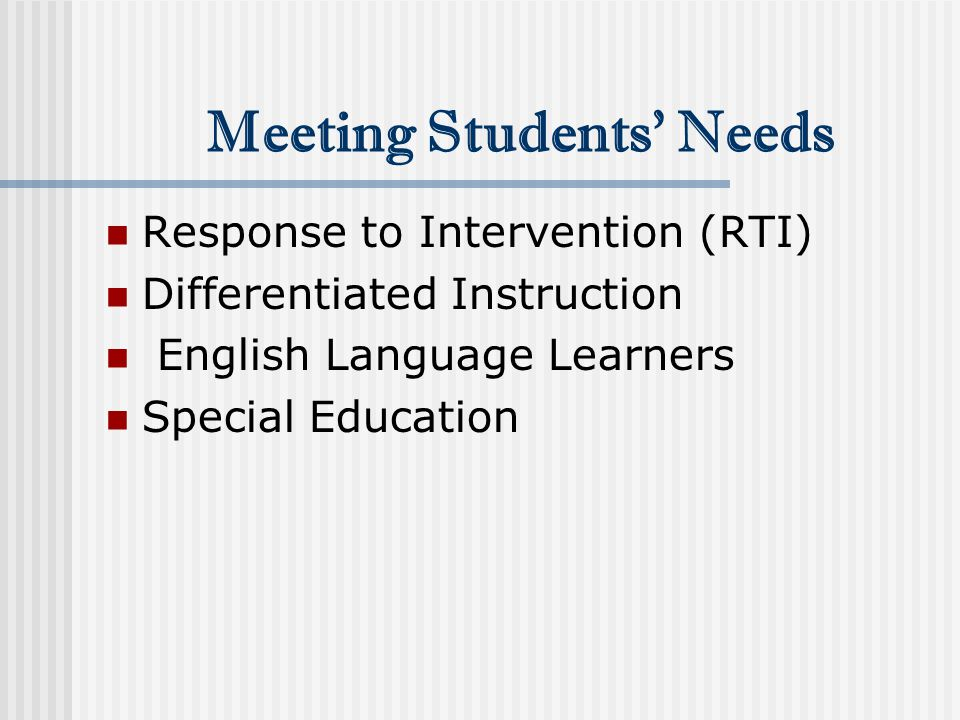 Response to Intervention (RTI) Differentiated Instruction English Language Learners Special Education Meeting Students' Needs
