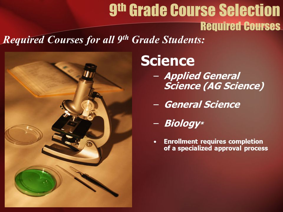 Science –Applied General Science (AG Science) –General Science –Biology * Enrollment requires completion of a specialized approval process Required Courses for all 9 th Grade Students: 9 th Grade Course Selection Required Courses