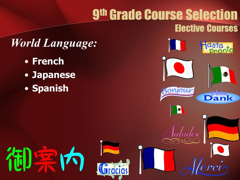 French Japanese Spanish World Language: 9 th Grade Course Selection Elective Courses
