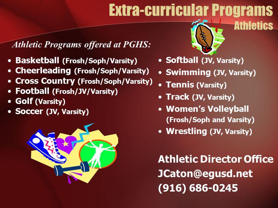 Extra-curricular Programs Athletics Softball (JV, Varsity) Swimming (JV, Varsity) Tennis (Varsity) Track (JV, Varsity) Women's Volleyball (Frosh/Soph