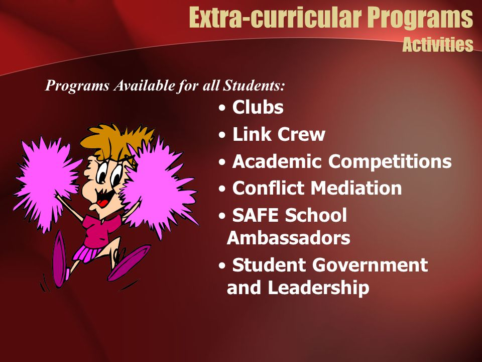Extra-curricular Programs Activities Clubs Link Crew Academic Competitions Conflict Mediation SAFE School Ambassadors Student Government and Leadership Programs Available for all Students: