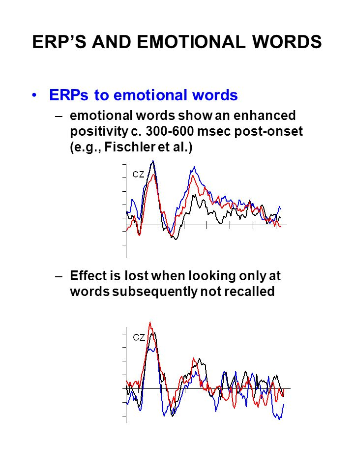ERP'S AND EMOTIONAL WORDS ERPs to emotional words –emotional words show an enhanced positivity c.