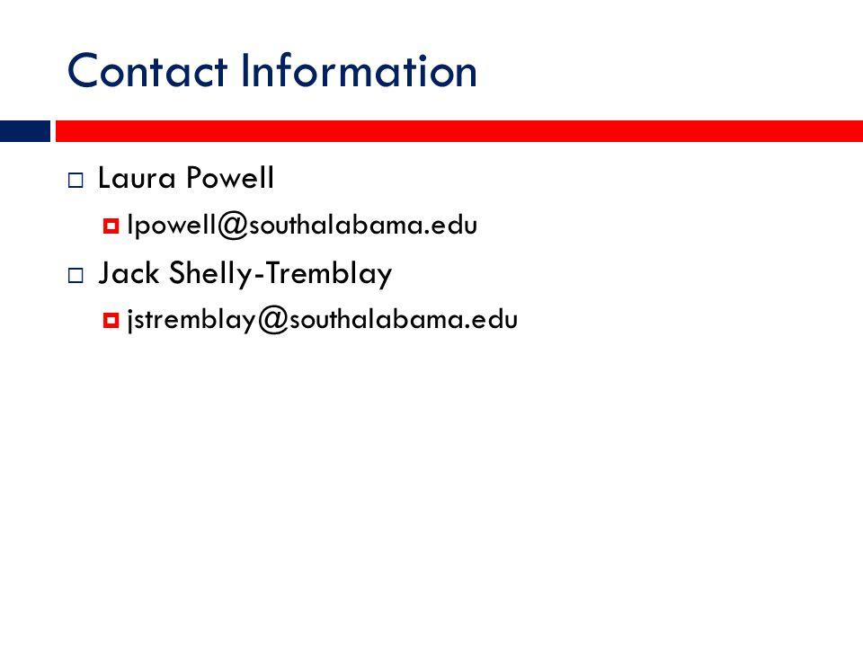 Contact Information  Laura Powell  lpowell@southalabama.edu  Jack Shelly-Tremblay  jstremblay@southalabama.edu