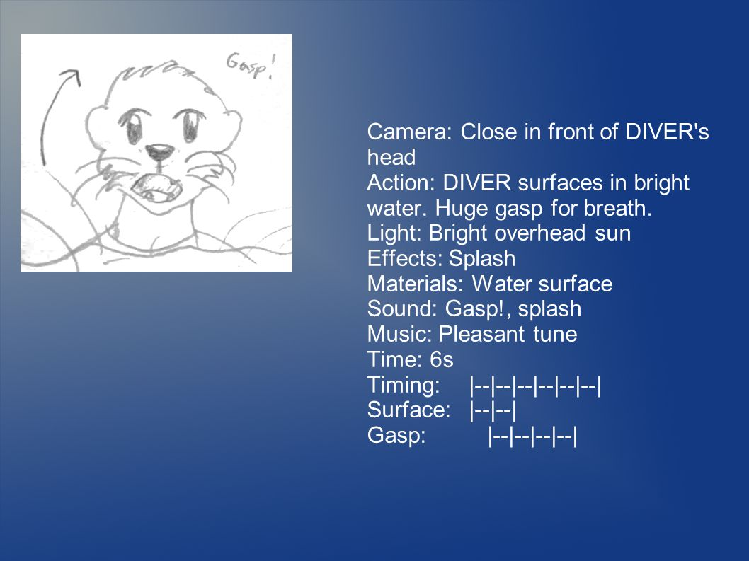 Camera: Close in front of DIVER s head Action: DIVER surfaces in bright water.