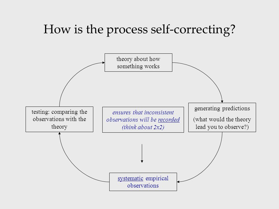 How is the process self-correcting? theory about how something works systematic empirical observations testing: comparing the observations with the th