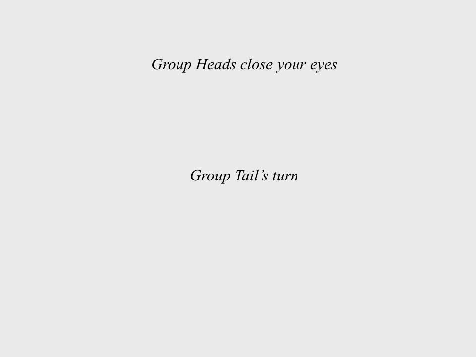 Group Heads close your eyes Group Tail's turn
