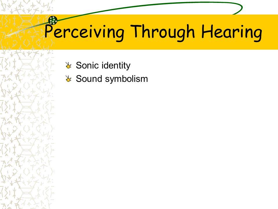 Perceiving Through Hearing Sonic identity Sound symbolism