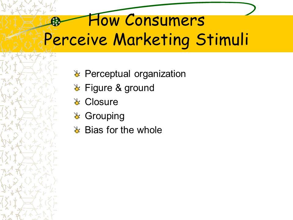 How Consumers Perceive Marketing Stimuli Perceptual organization Figure & ground Closure Grouping Bias for the whole