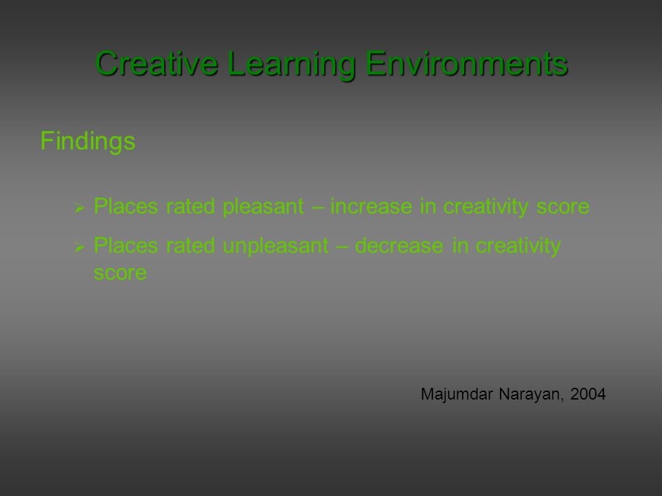Findings  Places rated pleasant – increase in creativity score  Places rated unpleasant – decrease in creativity score Majumdar Narayan, 2004 Creative Learning Environments