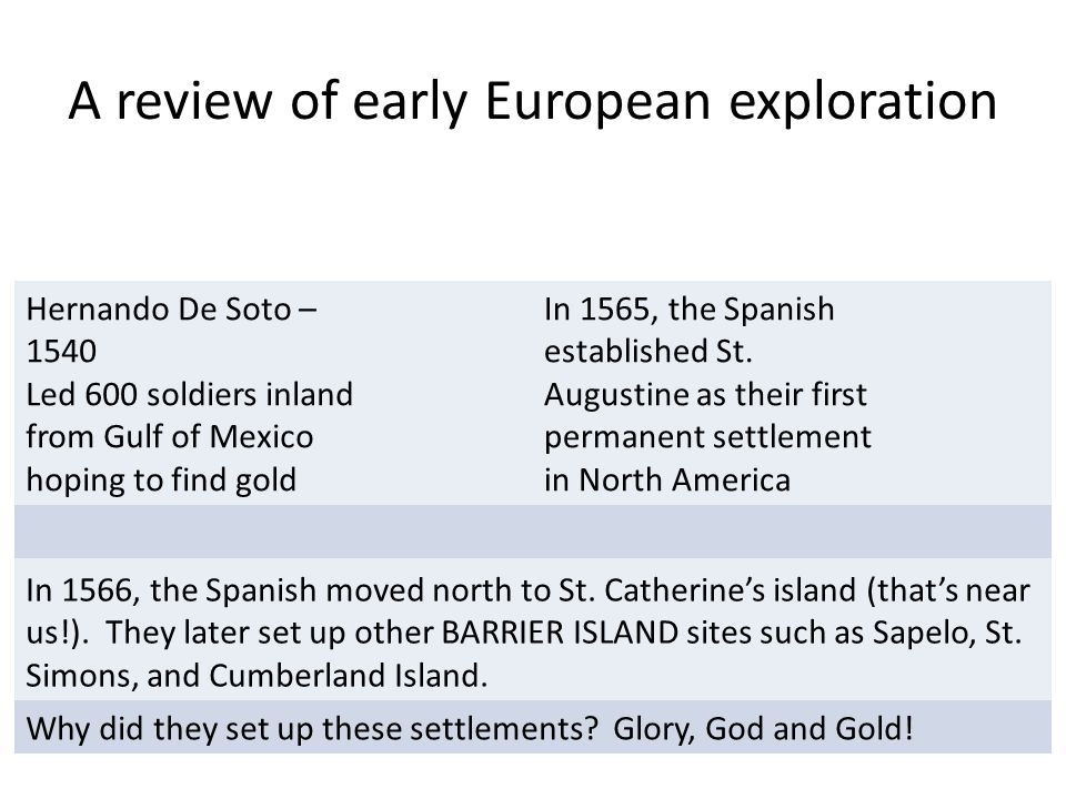 A review of early European exploration Hernando De Soto – 1540 Led 600 soldiers inland from Gulf of Mexico hoping to find gold In 1565, the Spanish established St.