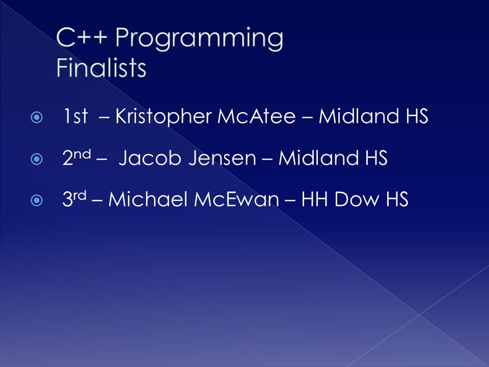  1st – Kristopher McAtee – Midland HS  2 nd – Jacob Jensen – Midland HS  3 rd – Michael McEwan – HH Dow HS
