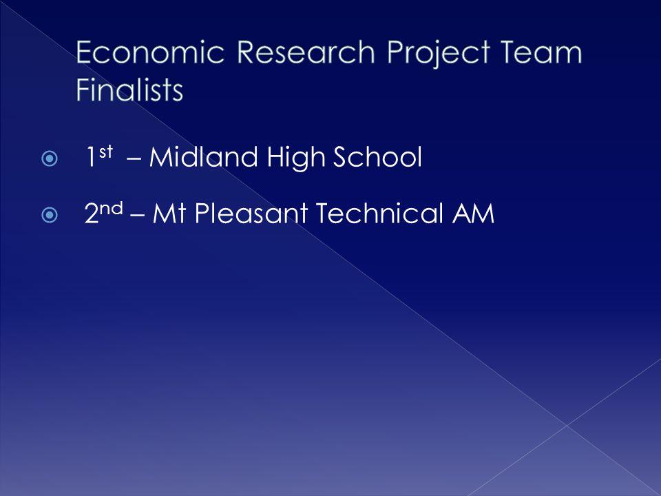  1 st – Midland High School  2 nd – Mt Pleasant Technical AM