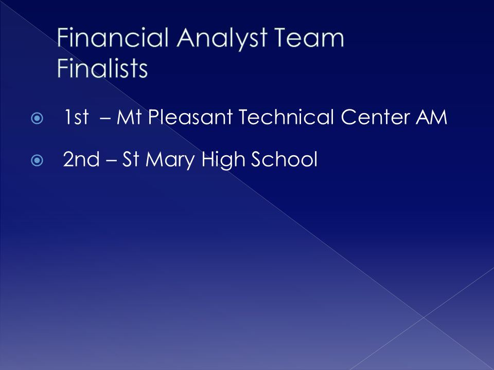  1st – Mt Pleasant Technical Center AM  2nd – St Mary High School