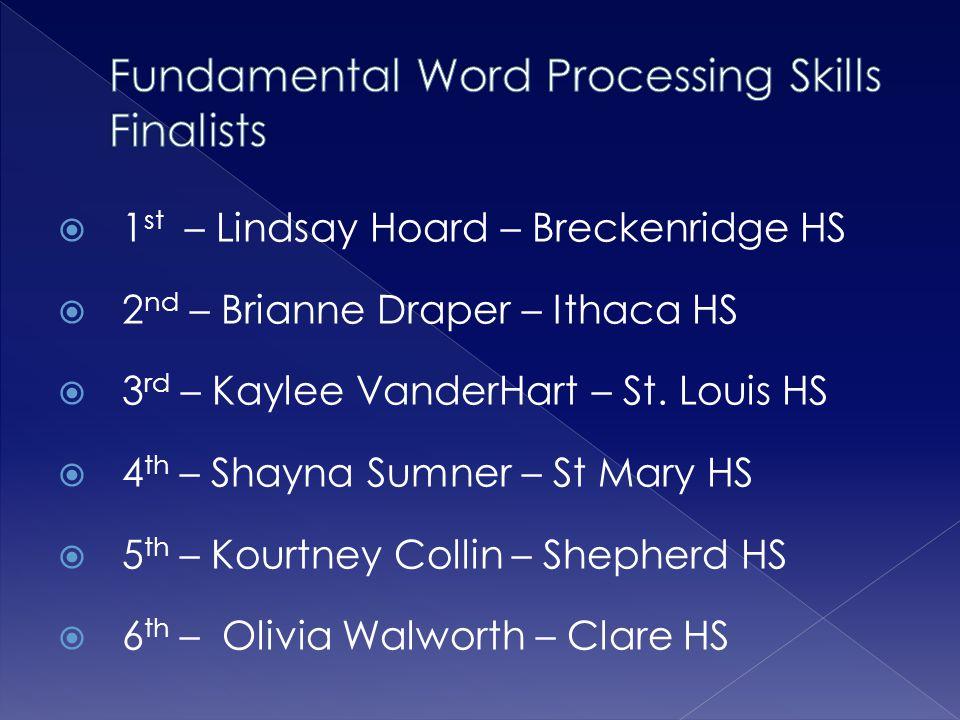  1 st – Lindsay Hoard – Breckenridge HS  2 nd – Brianne Draper – Ithaca HS  3 rd – Kaylee VanderHart – St.